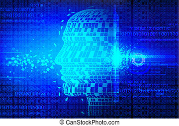 Technological Background with Human Head - illustration of...