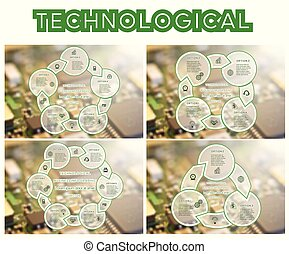 Technological Cyclic process With Text Areas 3 4 5 6 Positions. Set of templates Infograpchics