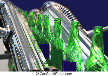 Technological line for drying of bottles for beer