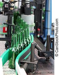 Technological line for washing of glass bottles for beer