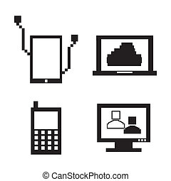 technological pixel icons over white background vector illustration