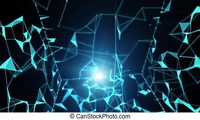 Technological polygonal network shape. Technology background. Web network background. Digital, communication and technology network background. Abstract plexus geometric shapes. Business plexus background. Fantasy abstract technology.
