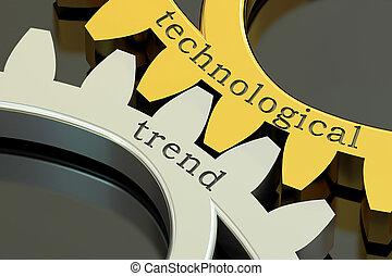 technological trend concept on the gearwheels, 3D rendering
