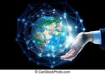 technologieën, het verbinden, de wereld