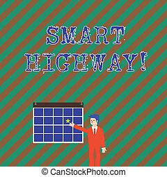 technologieën, straat, concept, ster, kleurrijke, wijzende, convergeren, tekst, hangen, highway., hoog, rijwegen, geavanceerd, zakenman, wall., woord, het glimlachen, schrijvende , zakelijk, kalender, smart