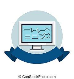 technologie, écran, informatique, emblème, rond