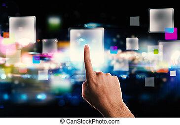 technologie, écran, ruisseler