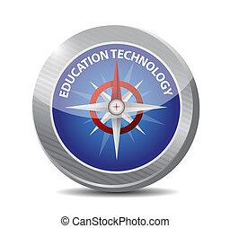 technologie éducation, compas, signe, concept