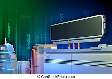 technologie, élevé, panneau affichage