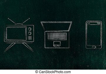 technologie, évolution, smartphone, tã©lã©viseur, ordinateur portable