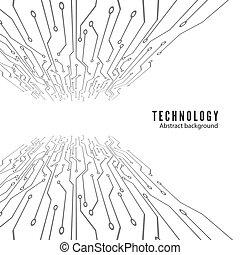 technologie, abstract, illustratie, achtergrond., vector, circuit, board., elektronisch