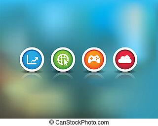 technologie, achtergrond, iconen