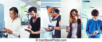 technologie, anteil, collage