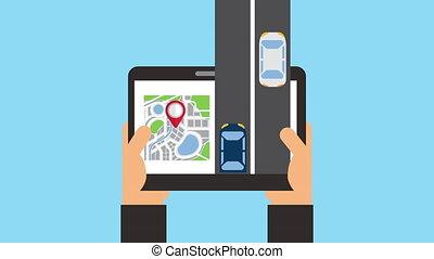 technologie, application, tablette, gps