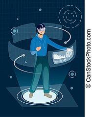 technologie, augmented, wirklichkeit, gebrauchend, mann