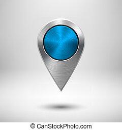 technologie, carte, indicateur, à, bleu, métal, texture