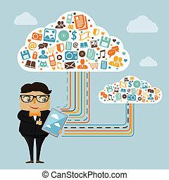 technologie, chmura, handlowy