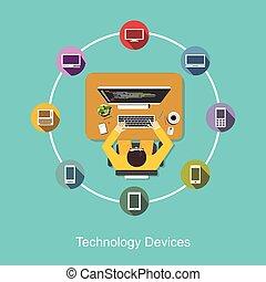 technologie, communication., appareils