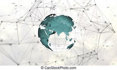 technologie, composite, numérique, mondial, blockchain