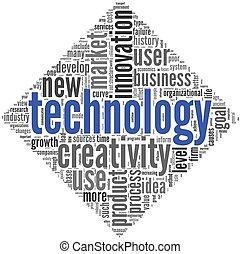 technologie, concept, créativité, nuage, étiquette