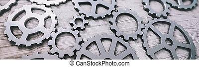 technologie, concept., engrenage, industriel, innovations