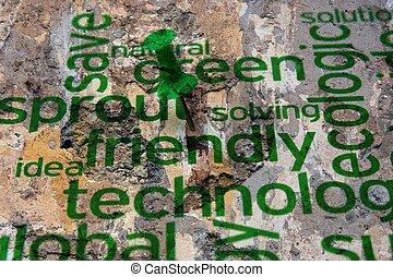 technologie, concept, grunge, vriendelijk