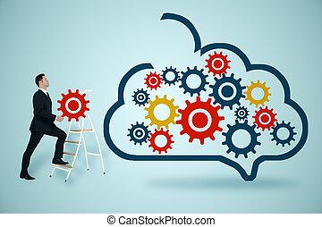 technologie, concept, stockage, réseau, données