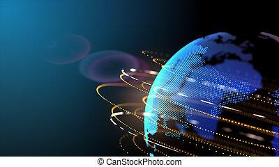 technologie, connexion, conception, réseau