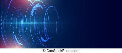 technologie de pointe, conception, bannière, technologie, futuriste, lignes