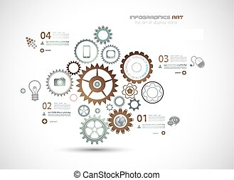 technologie de pointe, fond, business, infographics