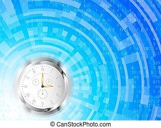 technologie de pointe, fond, horloge