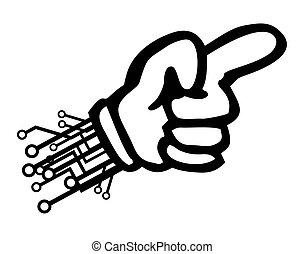 technologie, dessin animé, pointage, main