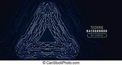 technologie, diagramme, circuit, numérique, bannière, futuriste
