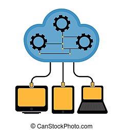 technologie, différent, connecté, nuage, appareils