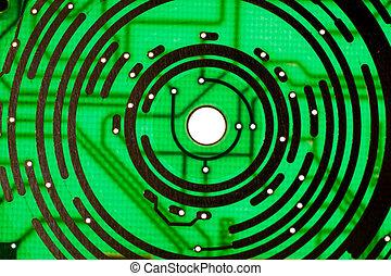 technologie, elektronica, groene achtergrond