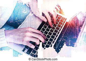 technologie, en, netwerk, concept