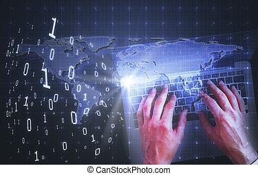 technologie, et, communications globales, concept