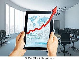 technologie, et, revenu, concept