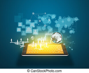 technologie, et, social, média