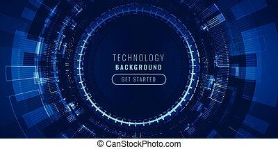 technologie, futuriste, élevé, visualisation, lignes, fond, concept