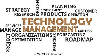 technologie, geschäftsführung, -, wolke, wort