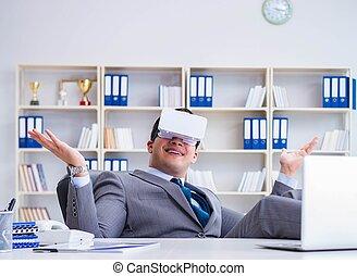 technologie, geschäftsmann, modern, virtuelle gläser, wirklichkeit, co
