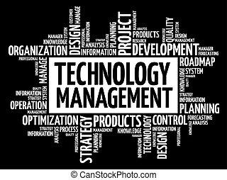 technologie, gestion, mot, nuage