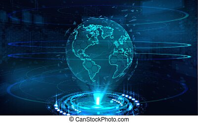 technologie, globe, la terre, hologramme
