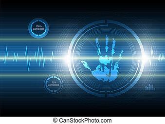 technologie, handabdruck, hintergrund, überfliegen