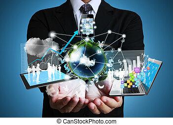 technologie, handen