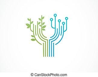 technologie, icônes, -, symboles, technologie, logo