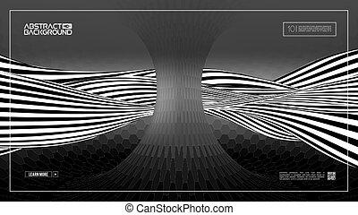 technologie, illusion, 10., sombre, hexagonal, eps, optique, torus., wave.