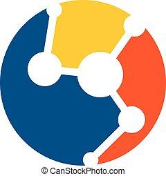 technologie illustration, gabarit, logo, molécule, 10., eps, vecteur, design.
