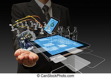 technologie, in de hand, van, zakenlieden